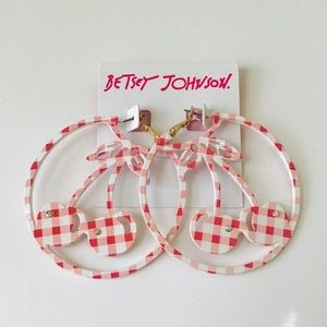 Betsey Johnson Cherry hoop earrings